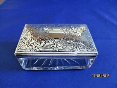 Victorian Silver & Cut Crystal Floral Engraved Vanity Box HM London 1879