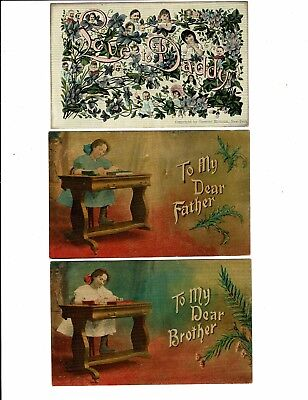 3 Card Greetings Lot, Multiple Babies, To Dear Father & Brother! Young Girl!