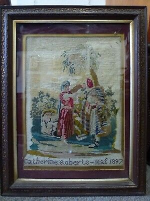 Antique Vintage Tapestry OLD 1897 Embroidery  Biblical Rebecca am brunnen