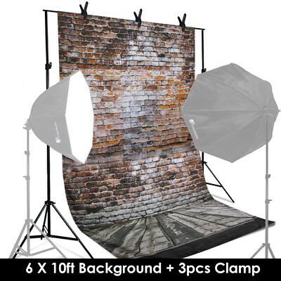 6 ft x 10 ft Photography Brick Wall Background Non Reflective w/3 Spring Clamps