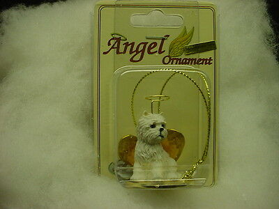 WESTIE dog ANGEL Ornament HAND PAINTED resin FIGURINE Christmas puppy Terrier