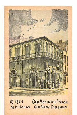 Postcard Old Absinthe House Old New Orleans La M H Hobbs 1939 Sketch Louisiana