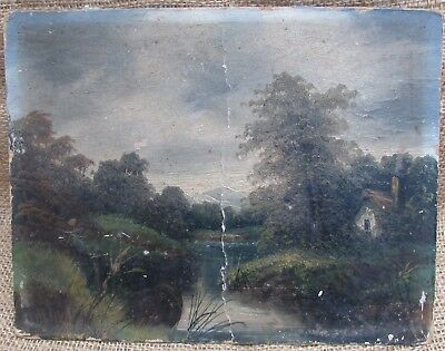 19th Century Oil Painting on board - Cottage & River