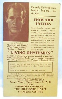 """1940s ADV POSTCARD LECTURE AUTHOR HOWARD INCHES """" LIVING RHYTHMICS """" LOS ANGELES"""