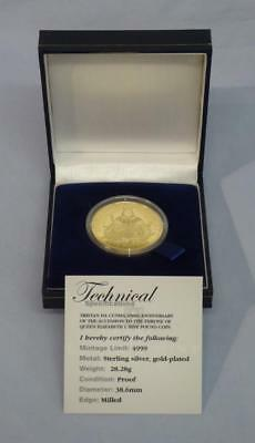 2008 GOLD PLATED SOLID SILVER PROOF T.D.C. £5 COIN ELIZABETH Ist ACCESSION