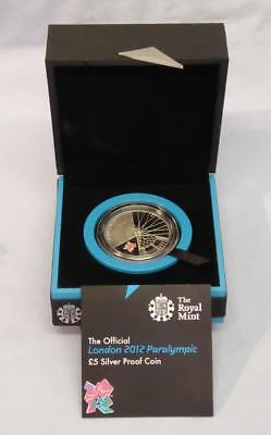 Official London 2012 Paralympic £5 Silver Proof Coin Orig Boxes & Certificate