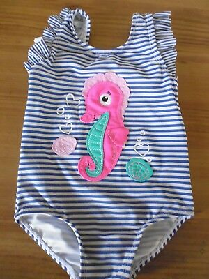 Girls Blue & White Striped Swimming Costume. Seahorse Design..18-24 Months