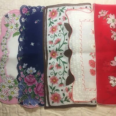 "Vintage Lot of 5 ~ Floral Hankies ~ UNUSED ~Handkerchiefs- ""Herrmann Hand Rolled"