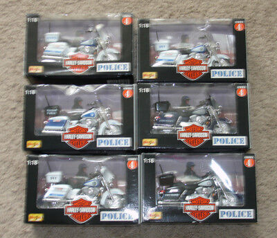 Maisto Harley Davidson Series 4 Complete Set of 6 Police Motorcycles 1:18 Scale
