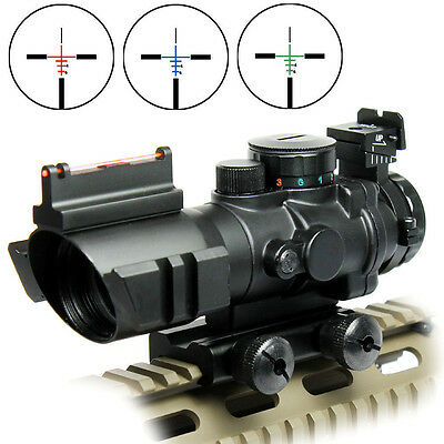 Tactical 4X32 RGB Prismatic Rifle Scope Red Dot Tri-illuminated Fiber Optic