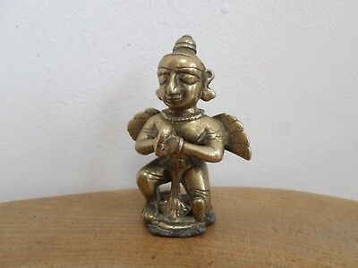 Vintage,Antique Indian,Hindu Brass Figurine,Kneeling Winged Deity,naive style