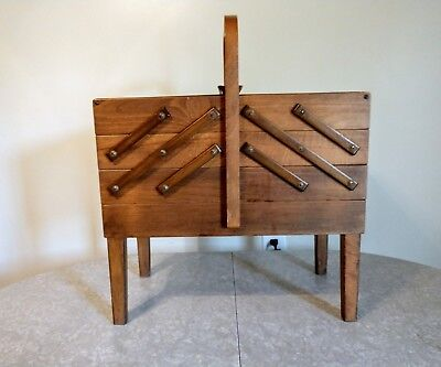 Vintage AS Strommen Bruk Hamar Accordion Style Wooden Sewing Box