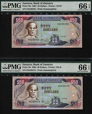 "TT PK 79e 2004 JAMAICA 50 DOLLARS ""SAM SHARPE"" PMG 66 EPQ GEM UNC SET OF TWO!"