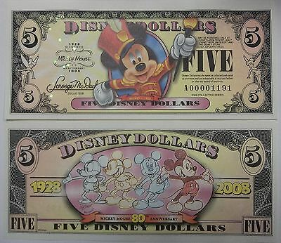 Disneyland 2008 Mickey Mouse 80th $5 Five Disney Dollar Mint A00001219