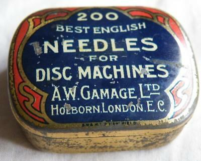 Vintage A W Gamage  gramophone needle tin with partial contents
