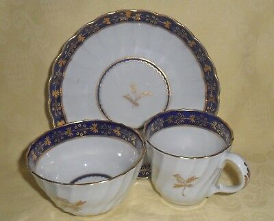 C1790 Worcester Tea Bowl, Cup And Saucer Trio - Crescent Mark - Blue And Gilt.