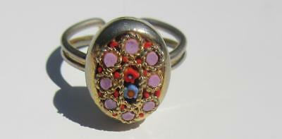 Vtg Made In Italy Goldtone Italian Glass Micro Mosaic Floral Adj Ring Pink Red