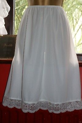 Vtg Ladies Sz10-12 White Sheer Cling Resist Lace Vented Hem Half Slip Petticoat