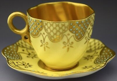Coalport Demitasse Tea Cup & Saucer Gold Guilded Yellow NO RESERVE Lot 7 of 90