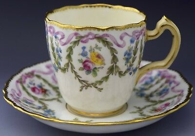 Minton Demitasse Tea Cup & Saucer Gilt & Floral Motif NO RESERVE Lot 11 of 90