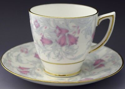 Minton Demitasse Tea Cup & Saucer Blue Leaves Pink Flowers NO RESERVE Lot 13