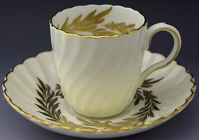Minton Demitasse Tea Cup & Saucer White w Gold Leaves NO RESERVE Lot 14 of 90