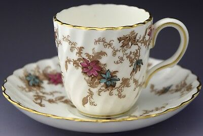Minton Demitasse Tea Cup & Saucer Brown Leaves w Flowers NO RESERVE Lot 15 of 90