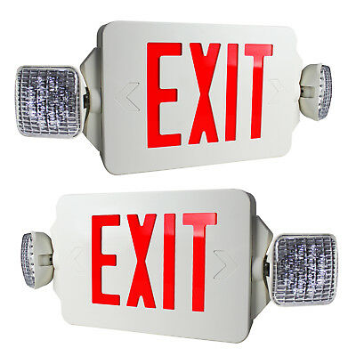 2 Pack - Red Letters LED Exit Sign Emergency Light Square Head Combo High Output