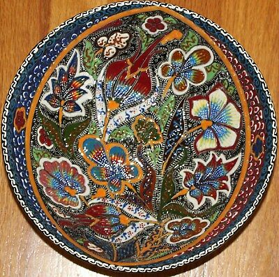 "10""x3.5"" Turkish Handmade High Quality Iznik Raised Floral Pattern Ceramic Bowl"