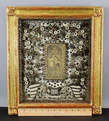 Lrg Authentic French Embroidered Silk & Silver St Francisca, Catholic Reliquary