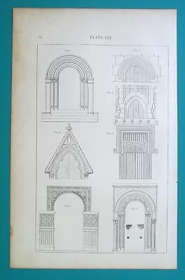 ARCHITECTURE Elements Windows Doorways Tracery etc -  (4) 1869 Antique Prints