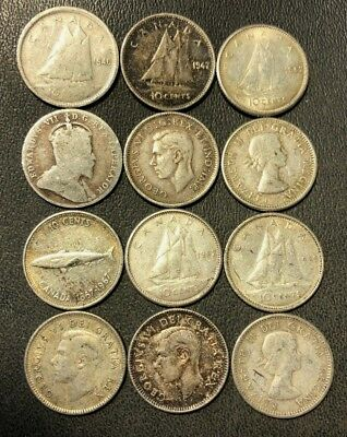 Old Canada Coin Lot - 1907-1968 - SILVER DIMES - 12 Coins - Lot #810