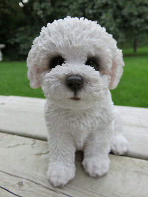 "Bichon Frise Sitting Dog Figurine White Dogs Statue Resin Pet Canine  New 6 "" H"