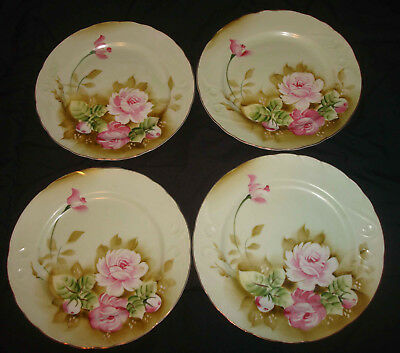 "4 Vintage Lefton Green Heritage Roses Hand Painted 3069 Round 9"" Dinner Plates"