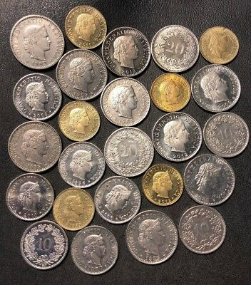 Old Switzerland Coin Lot - 1893-PRESENT - 25 Excellent Coins - Lot #810