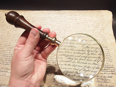 Antique Style Magnifying Glass w Wood Turned Handle