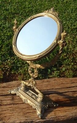 Vintage BRASS Floral Wreath Stand Counter Top Swivel VANITY MIRROR Free Standing