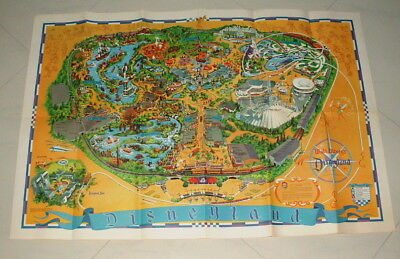 1968 Disneyland Original 27 By 40 Inch Park Map  Fold Out Poster Fantastic