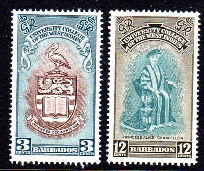 1951 BARBADOS BWI UNIVERSITY COLLEGE SG283-284 mint unhinged