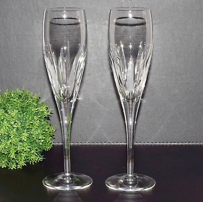 Set of 2 Royal Doulton Crystal REFLECTIONS Champagne Flute Glasses