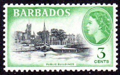 1953-61 BARBADOS 3c public buildings SG291 mint very light hinged