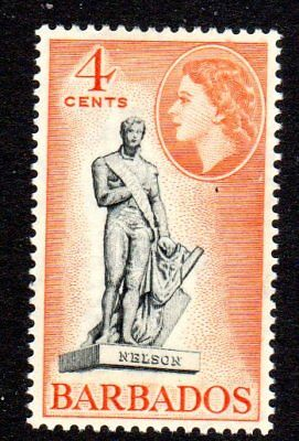 1953-61 BARBADOS 4c Nelson statue SG292 mint very light hinged