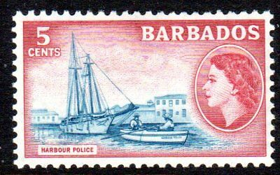 1953-61 BARBADOS 5c Harbour Police SG293 mint very light hinged