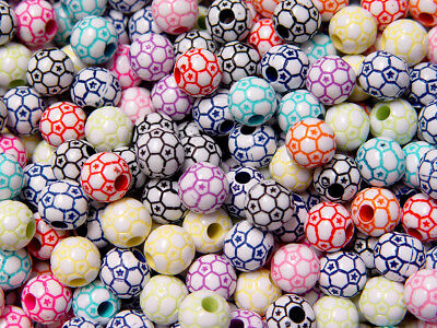Soccer Ball Colorful Beads 60pc for school sports jewelry bracelets kids crafts