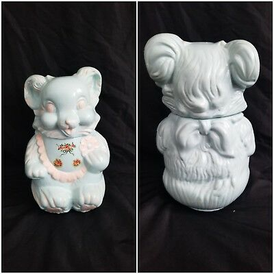 VINTAGE 1940'S ROYAL WARE SMILING BEAR CERAMIC 2PC COOKIE JAR Rare baby Blue