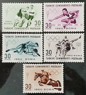 Turkey 1960 Sc # 1488 to Sc # 1492 Rome Olympics Mint MNH Stamps Set