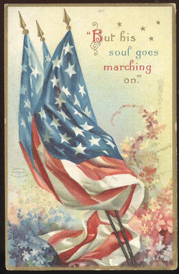 Early Signed Ellen Clapsaddle Memorial Day Post Card, Flags & Flowers