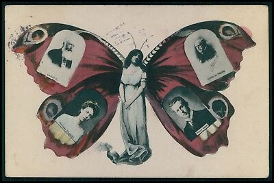 Butterfly woman Metamorphic surrealist fantasy Belgium royalty 1900s postcard