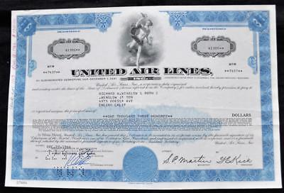 1936 United Airlines Stock Bond Certificate