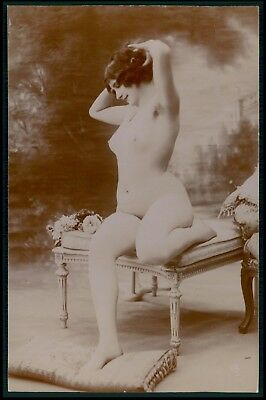 French nude woman seated hairdo original 1910-1920 Citrate toning photo postcard